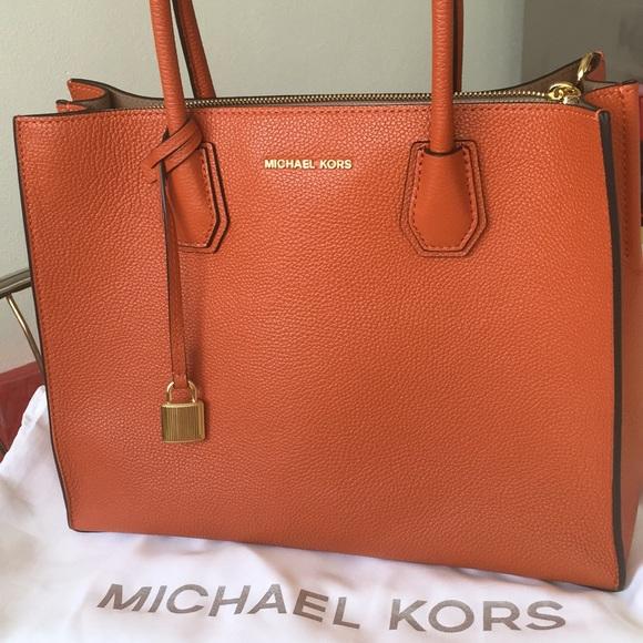 37aa0084a Bags | Michael Kors Large Mercer Tote In Orange | Poshmark